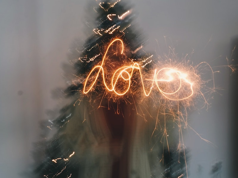 sparkler spells the word love for fourth of july