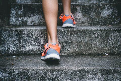 runner taking stairs