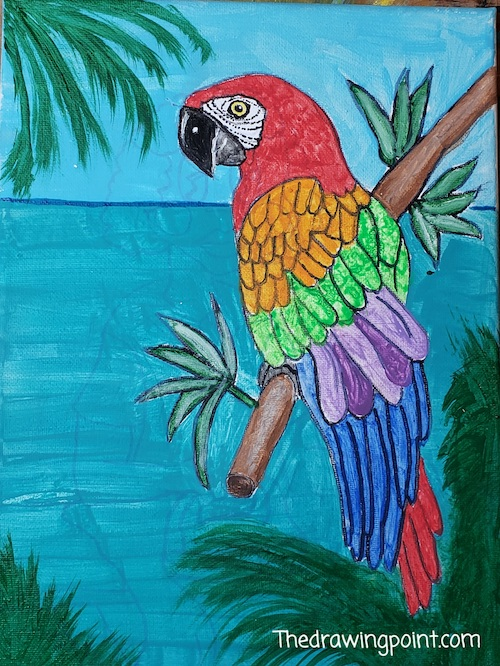 parrot painting for faces of courage enriching arts program
